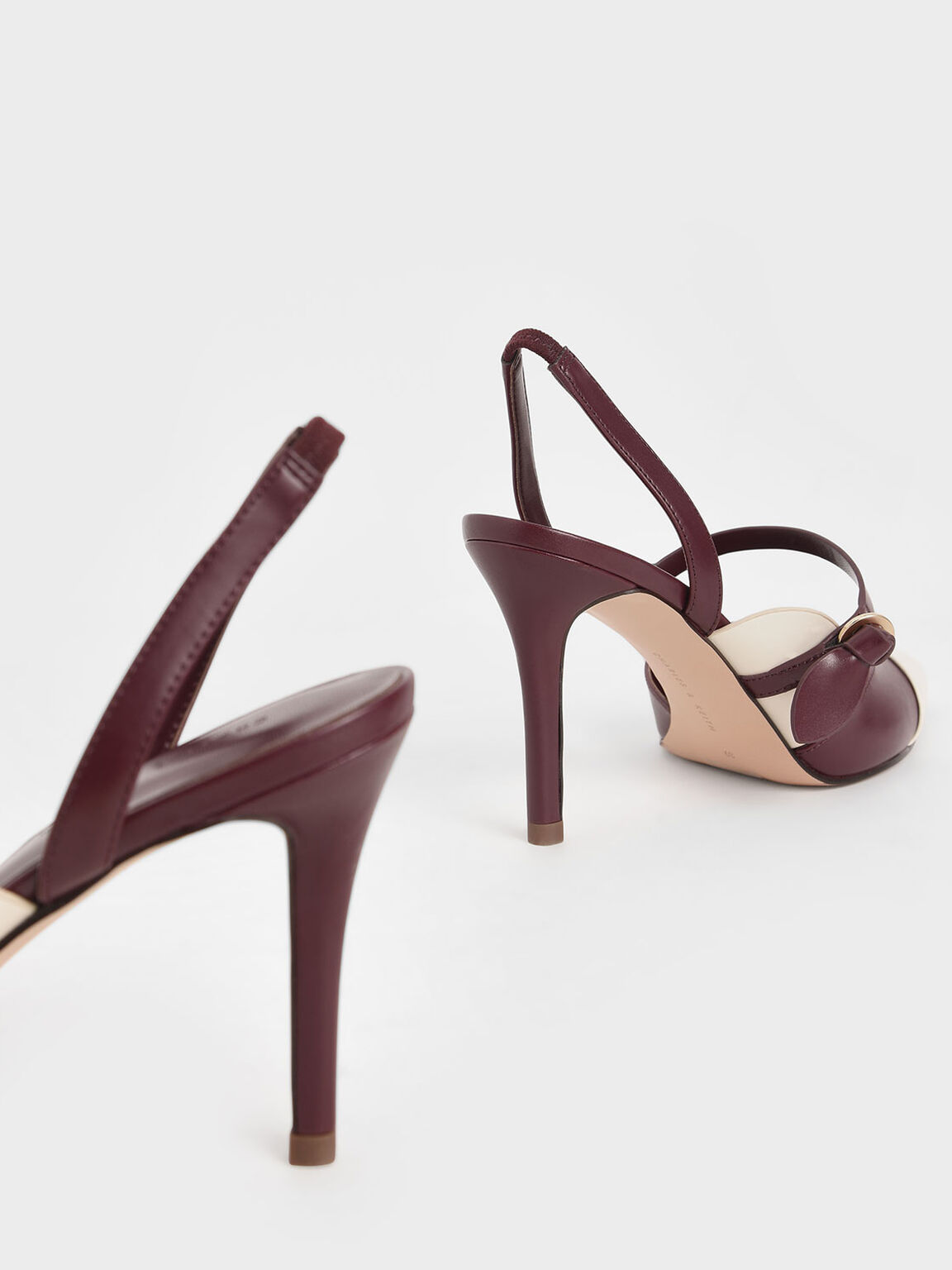 Mary Jane Strap Slingback Pumps, Maroon, hi-res