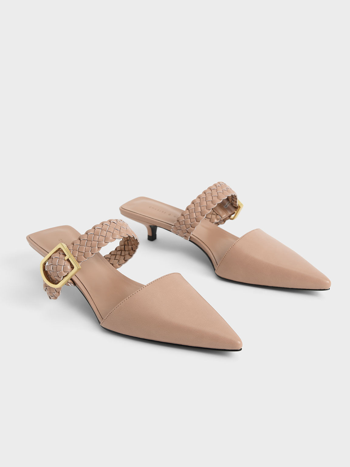 Woven Buckle Strap Mules, Pink, hi-res