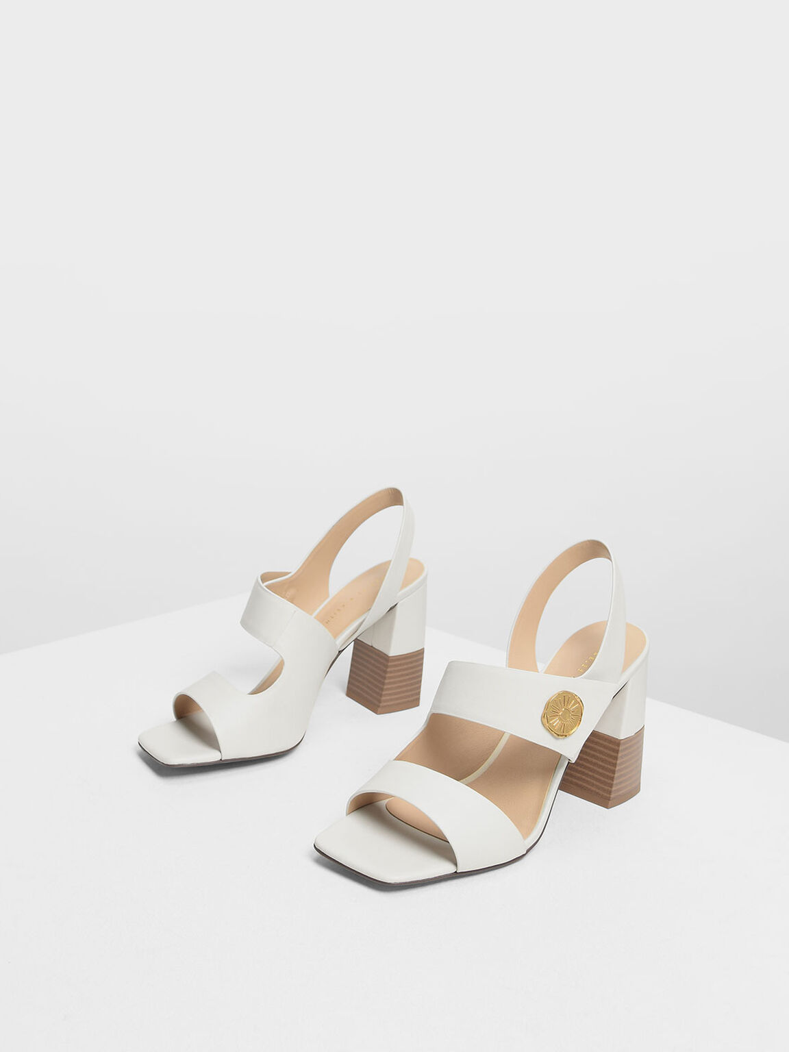 Asymmetrical Chunky Heel Sandals, Chalk, hi-res