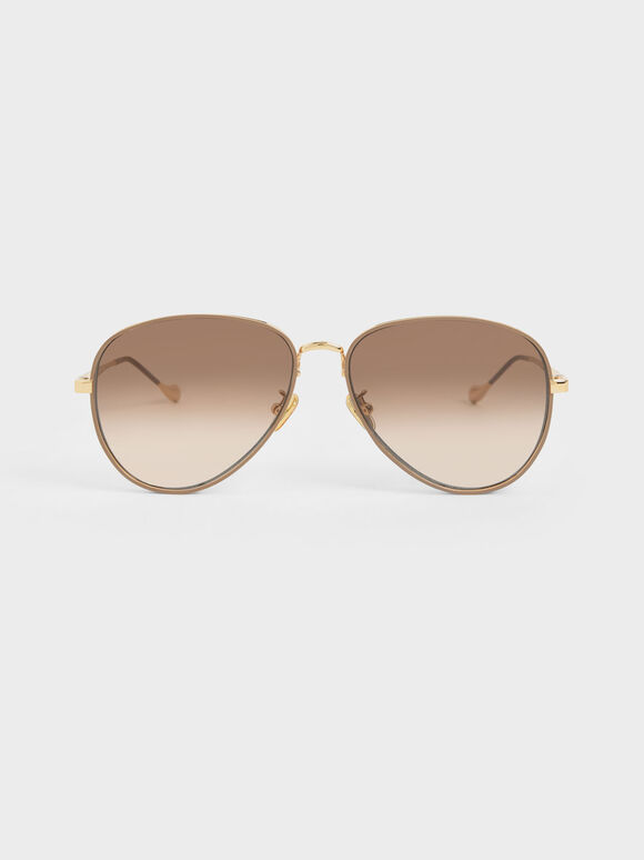 Tinted Aviator Sunglasses, Taupe, hi-res