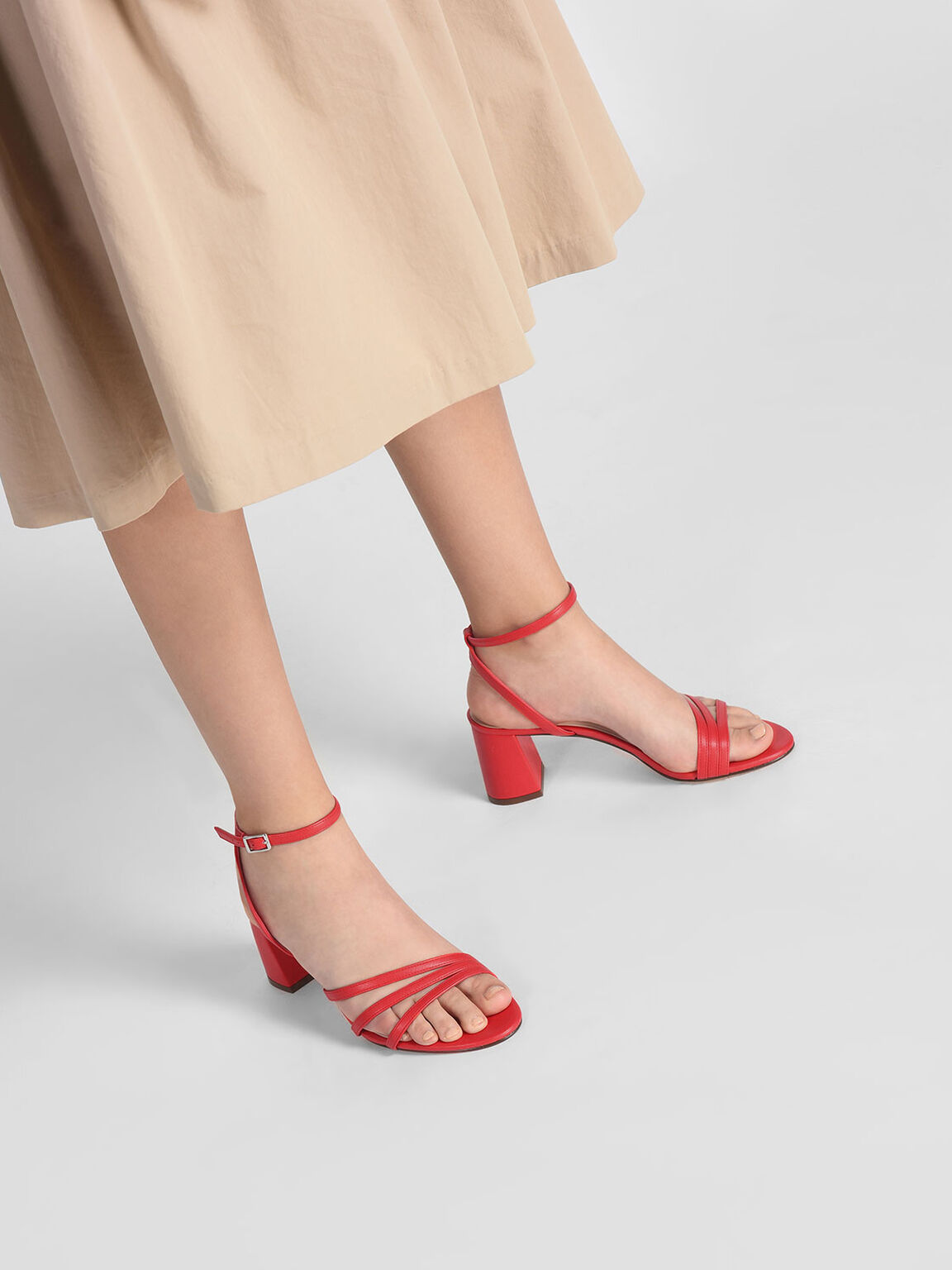 Ankle Strap Sandals, 레드, hi-res