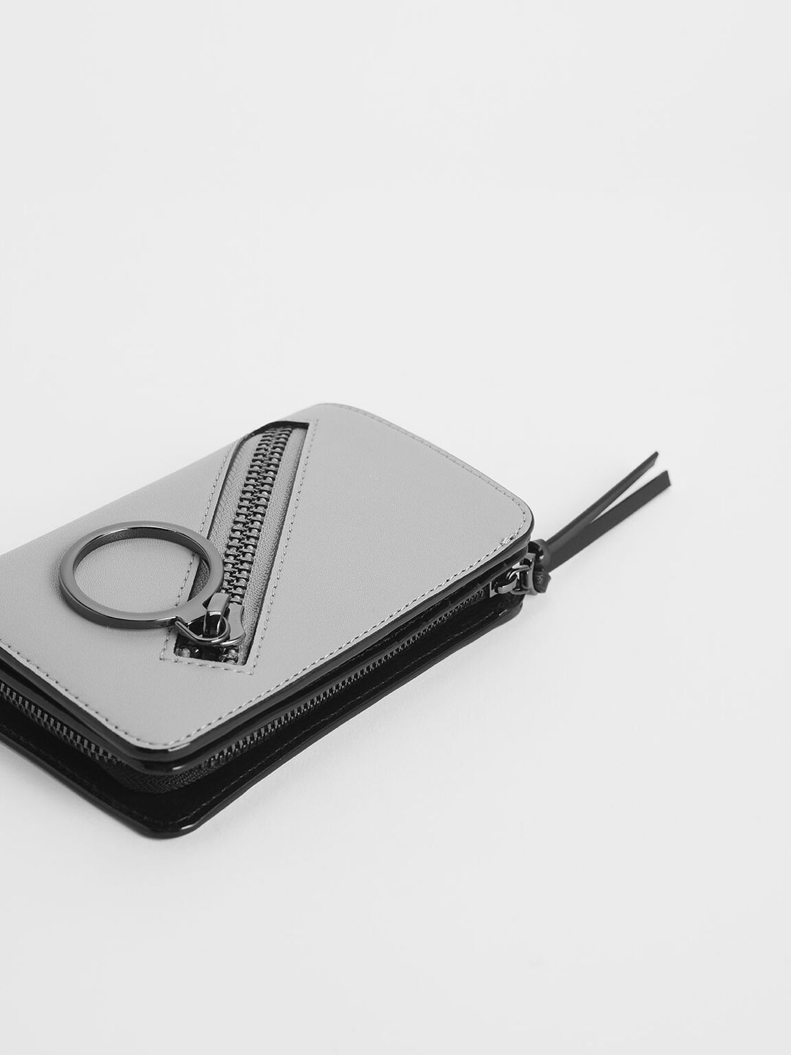 Ring Detail Zip Around Small Wallet, Grey, hi-res
