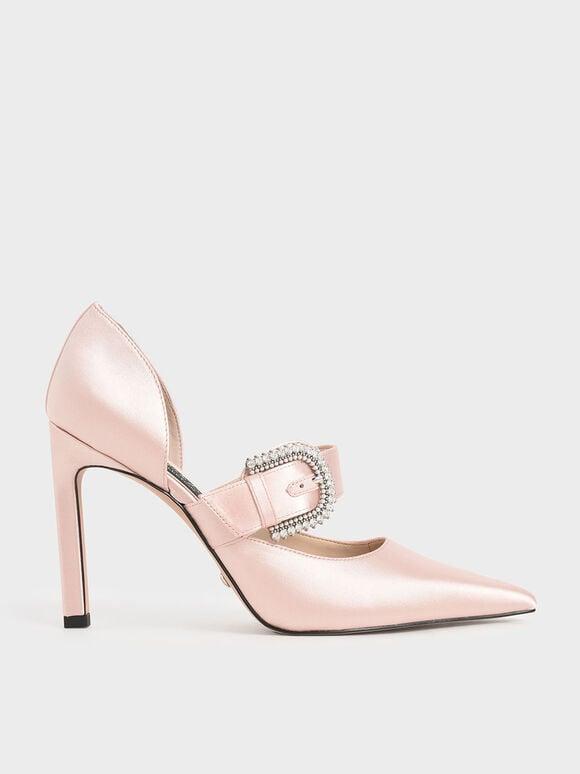 婚禮系列:緞面扣環高跟鞋, 粉紅色, hi-res