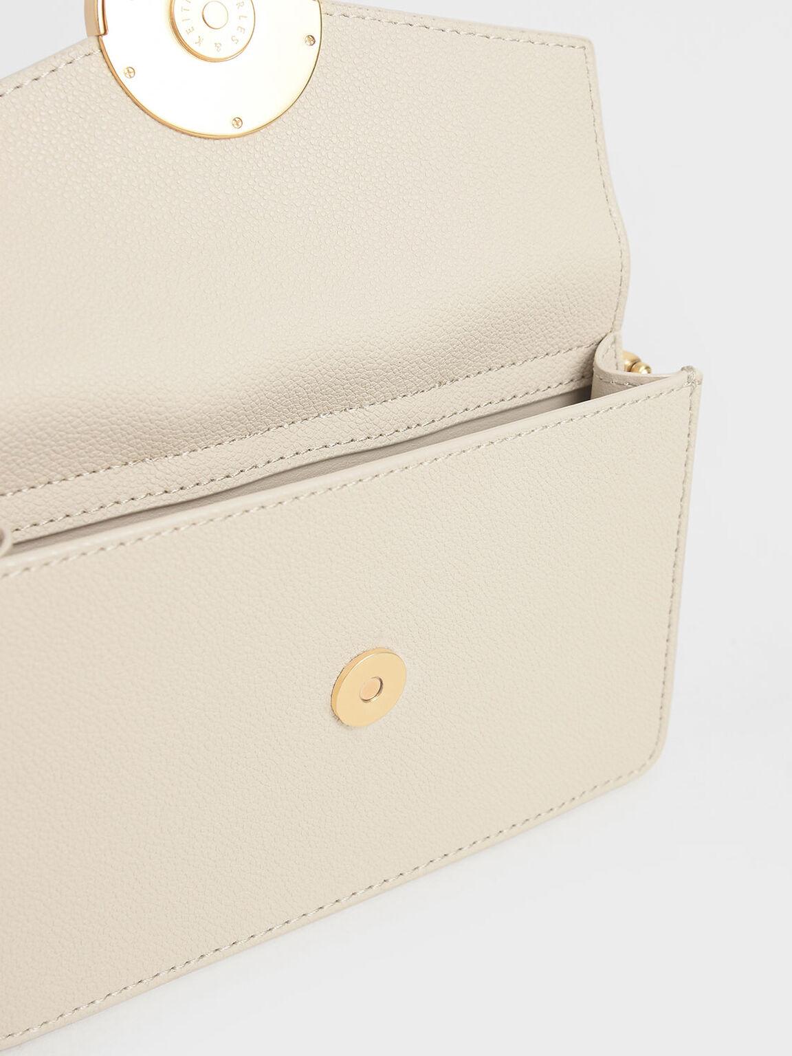Stone Embellished-Buckle Shoulder Bag, Cream, hi-res