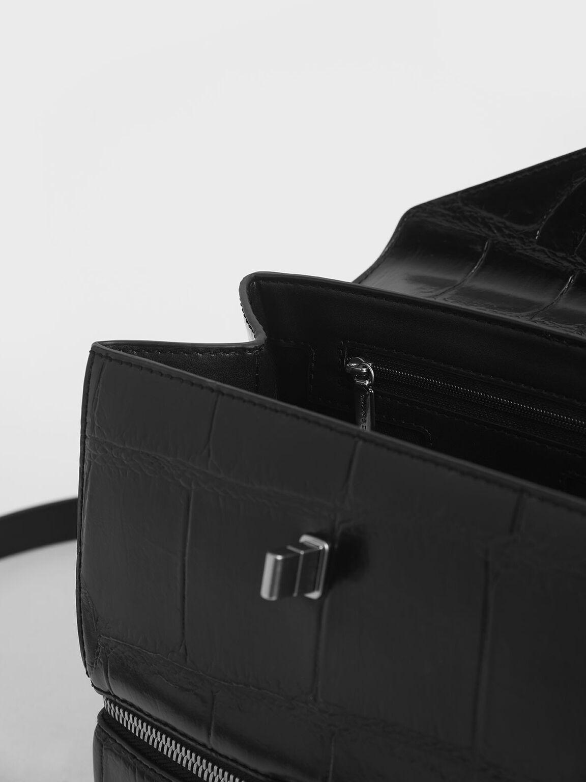 鍊條拉鍊手提包, 黑色, hi-res