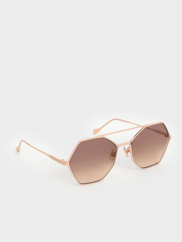 Gradient Tint Geometric Sunglasses, Pink, hi-res