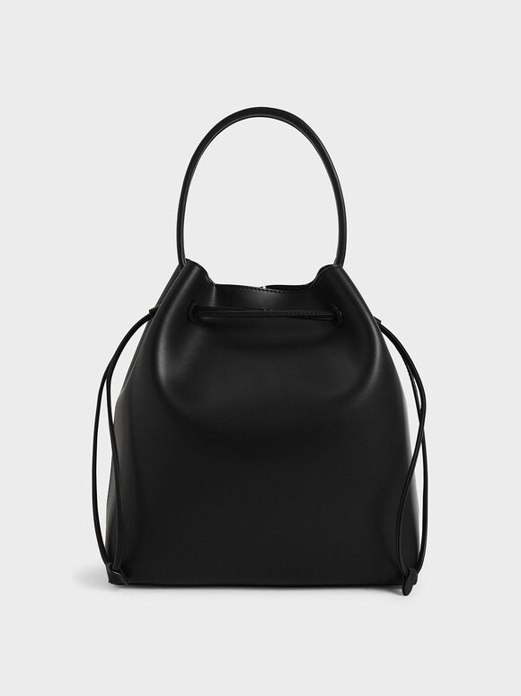 Drawstring Hobo Bag, Black, hi-res