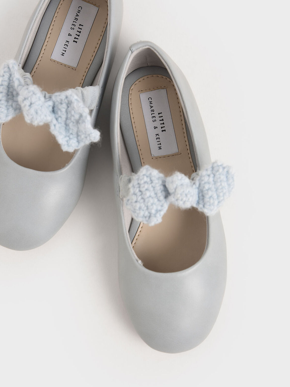 Girls' Crochet Bow Mary Jane Flats, Light Blue, hi-res