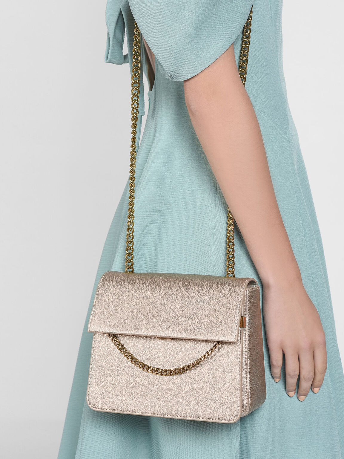 Chain Detail Front Flap Bag, Rose Gold, hi-res