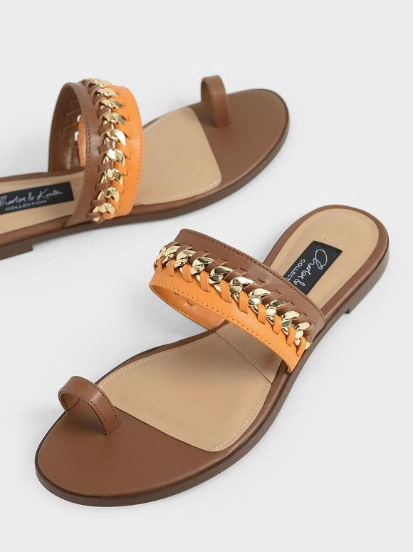 Leather Chain-Link Toe Loop Sandals, Multi, hi-res