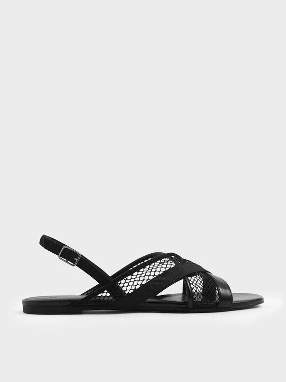 Criss Cross Mesh Slingback Sandals, Black, hi-res
