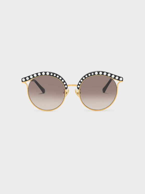 Embellished Sunglasses, Black, hi-res