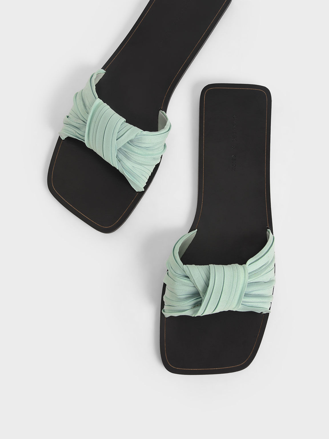 百褶扭結拖鞋, 薄荷綠, hi-res