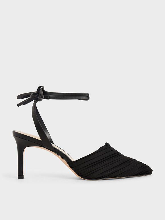 Pleated Ankle-Tie Stiletto Pumps, Black, hi-res