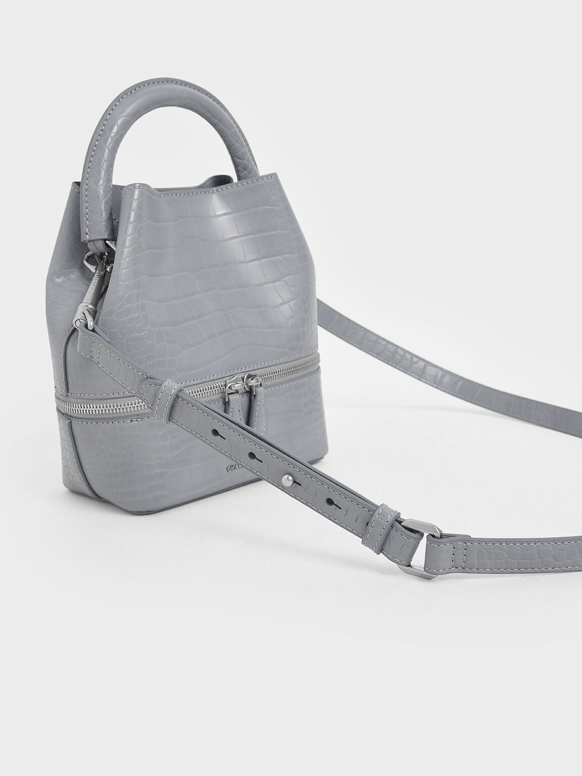 Croc-Effect Two-Way Zip Bucket Bag, Grey, hi-res