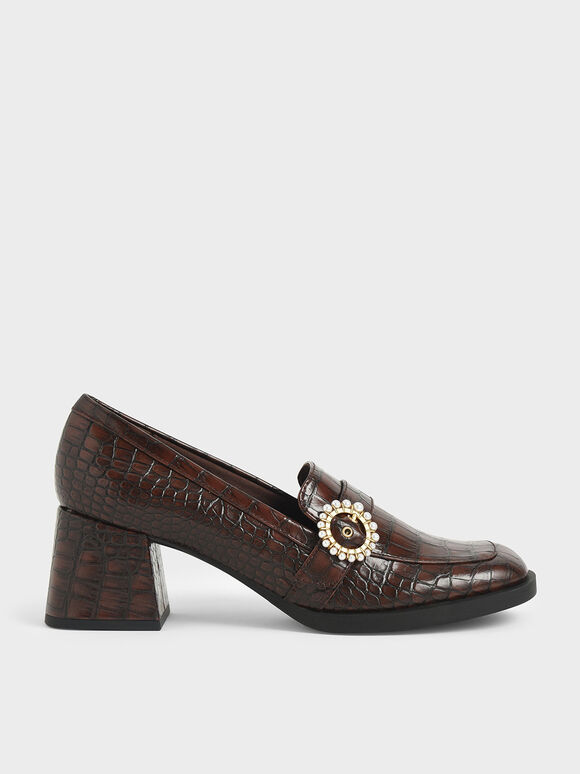 Beaded Accent Croc-Effect Loafer Pumps, Animal Print Brown, hi-res