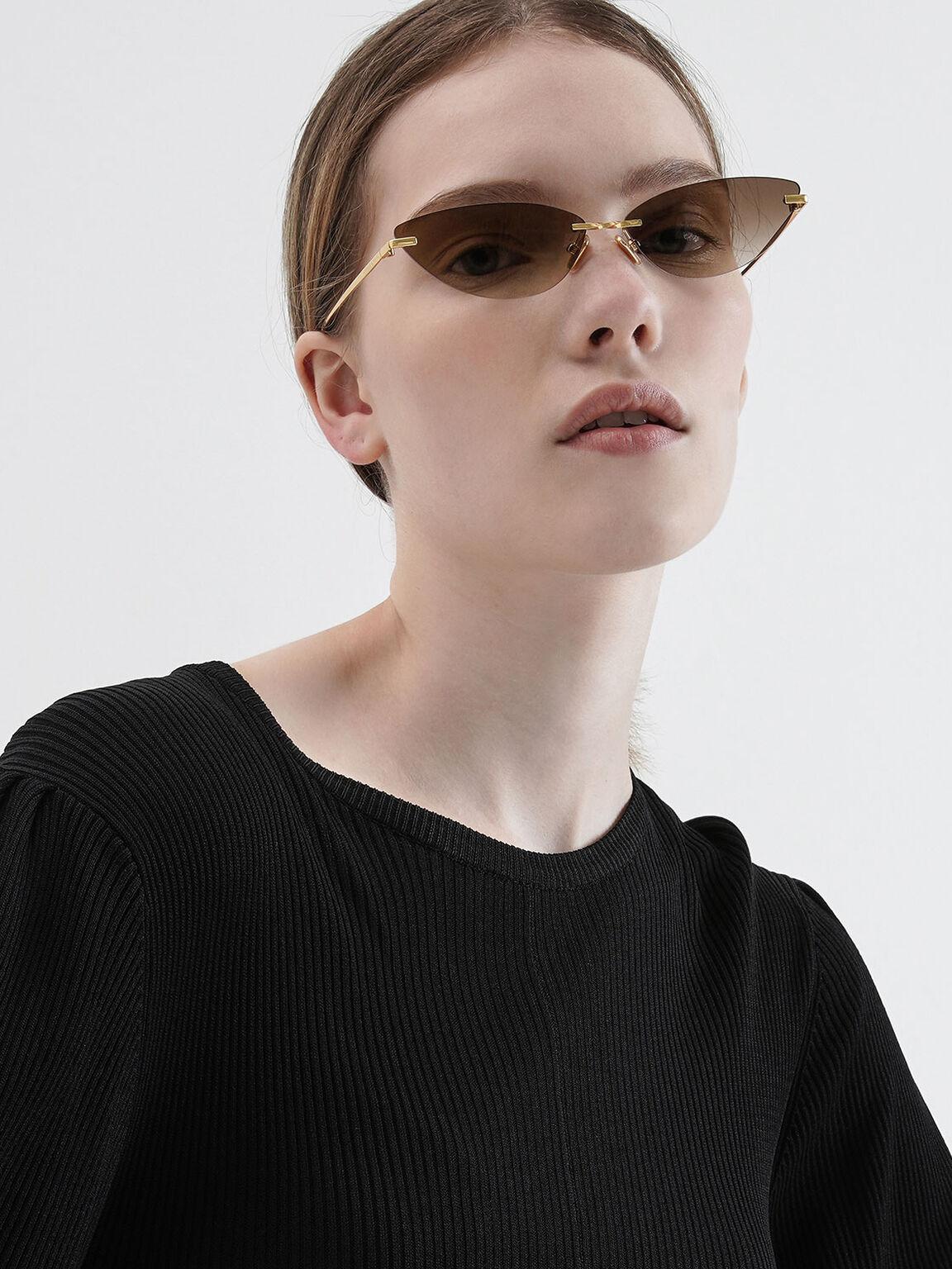 Rimless Cat-Eye Sunglasses, Brown, hi-res