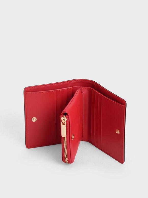 Mini Snap Button Wallet, Black, hi-res
