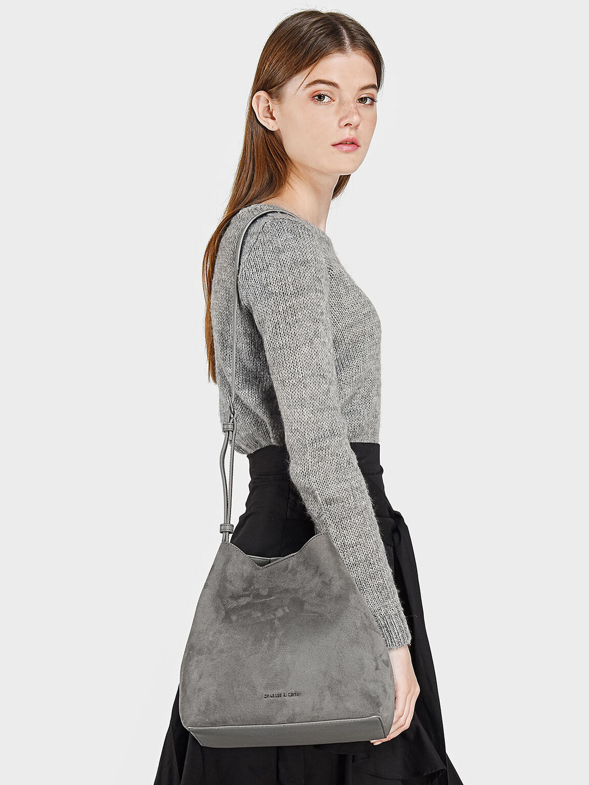 Slouchy Sling Bag, Grey, hi-res