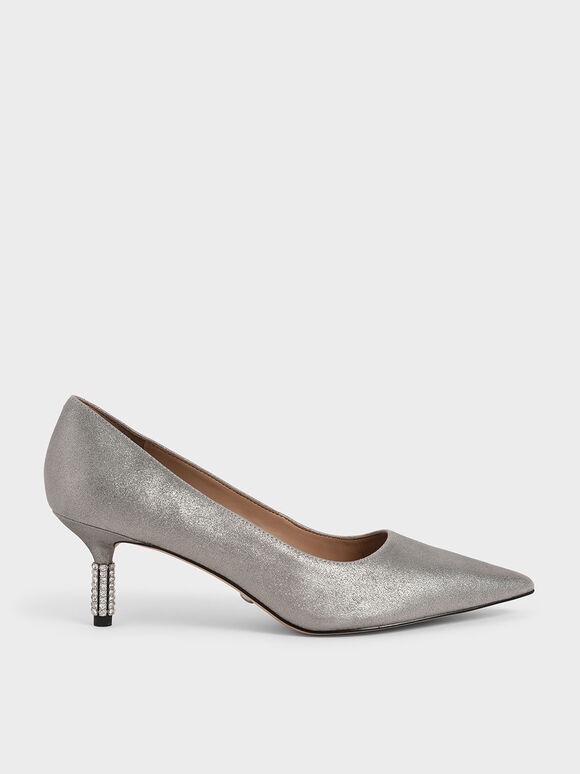 Metallic Leather Embellished Heel Pumps, Silver, hi-res