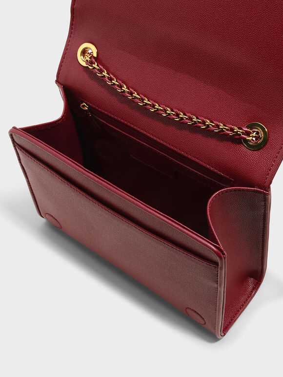 Quilted Sling Bag, Red, hi-res
