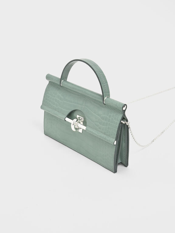 Croc-Effect Single Top Handle Wallet, Sage Green