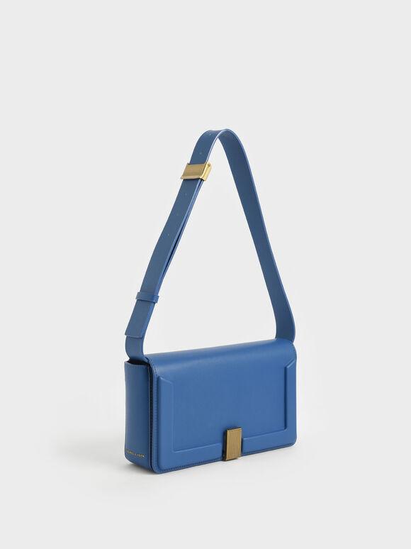 Elyse Turn-Lock Shoulder Bag, Blue, hi-res