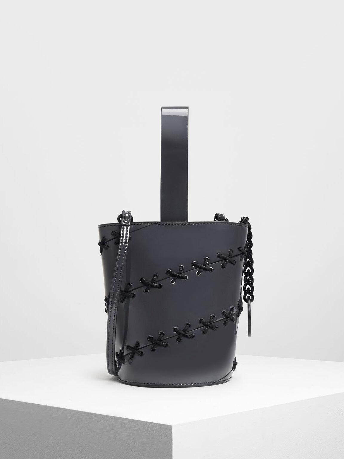 Lacing Detail Bucket Bag, Grey, hi-res
