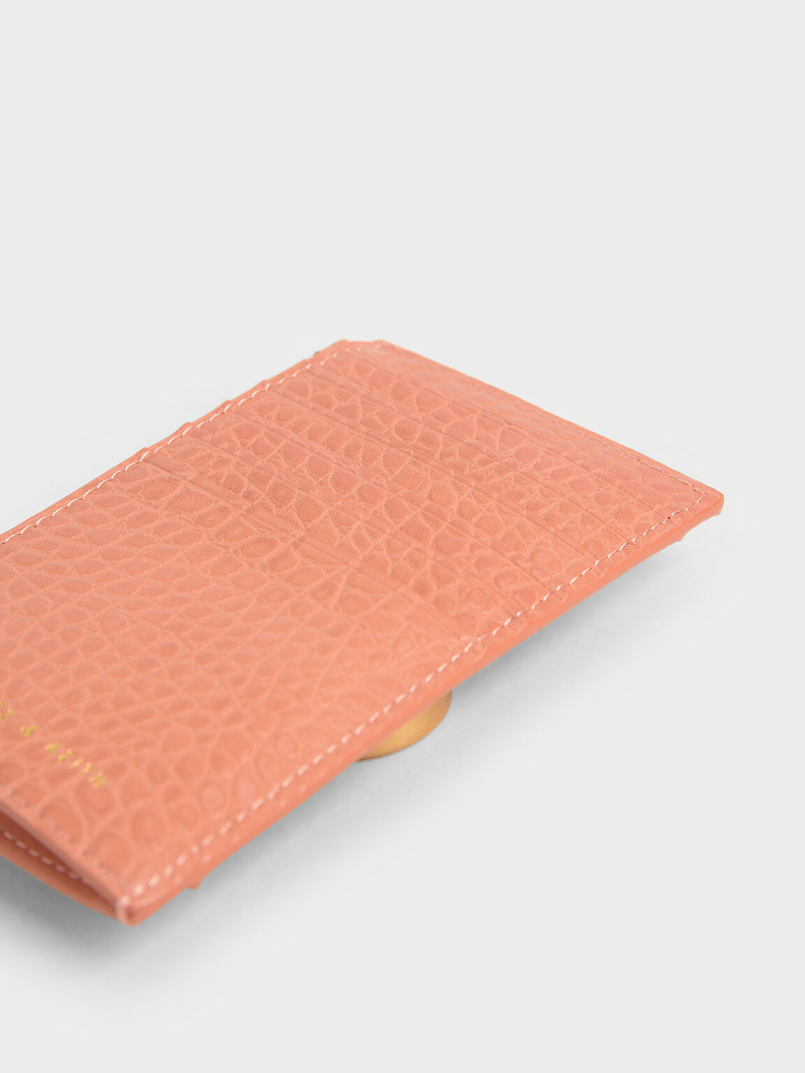 Croc-Effect Stone-Embellished Card Holder, Peach, hi-res