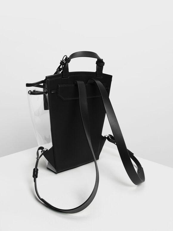 Vinyl Detail Backpack, Black, hi-res