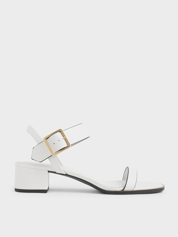 Frame Buckle Block Heel Sandals, Cream, hi-res