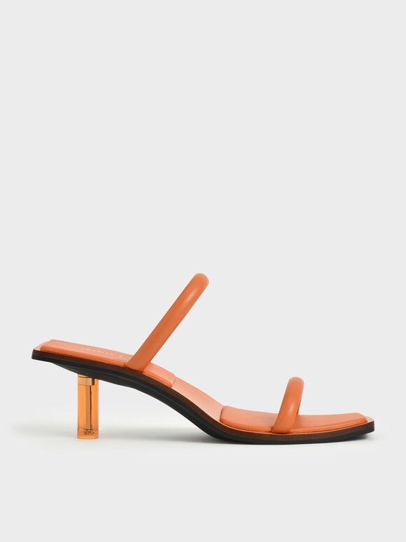 莫莉聯名:細帶透明跟涼鞋, 橘色, hi-res