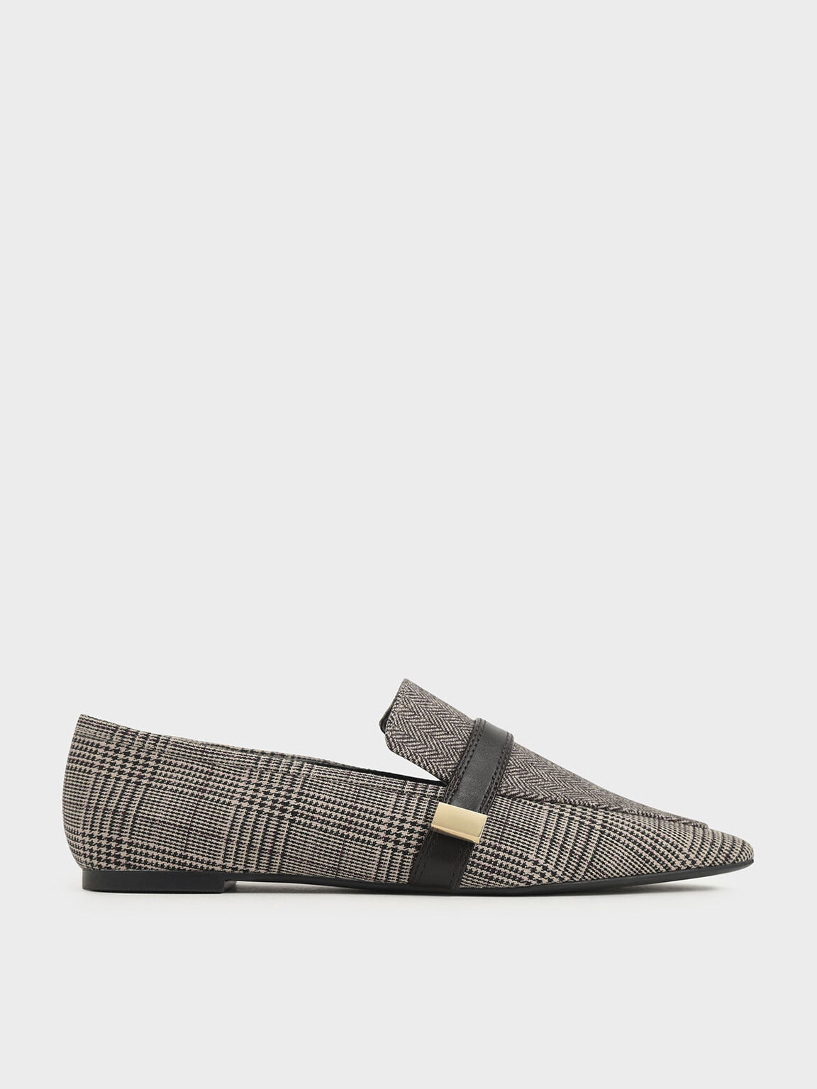 Metal Accent Tweed Loafers, Multi, hi-res