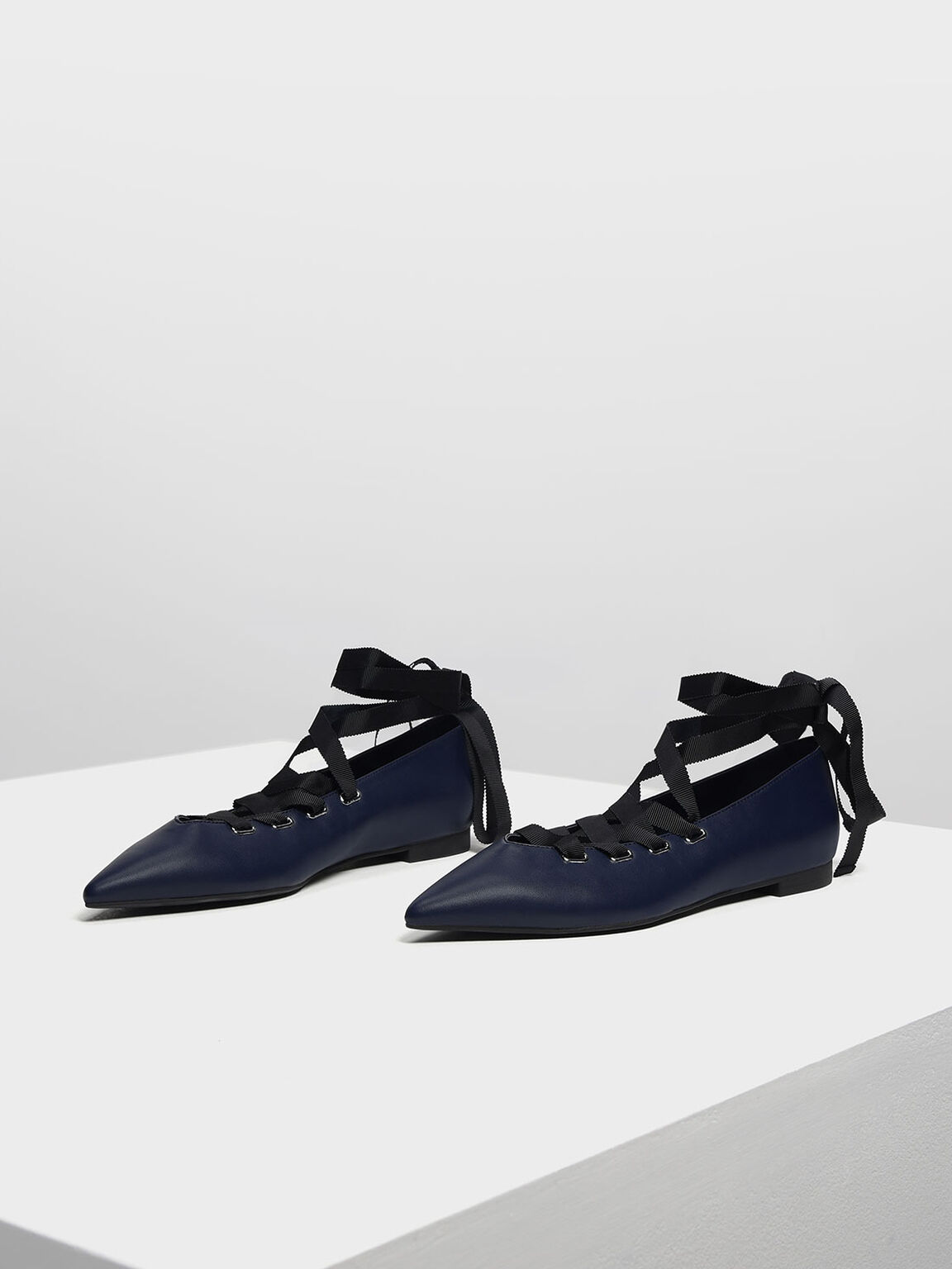 Laced Up Pointed Flats, Dark Blue, hi-res