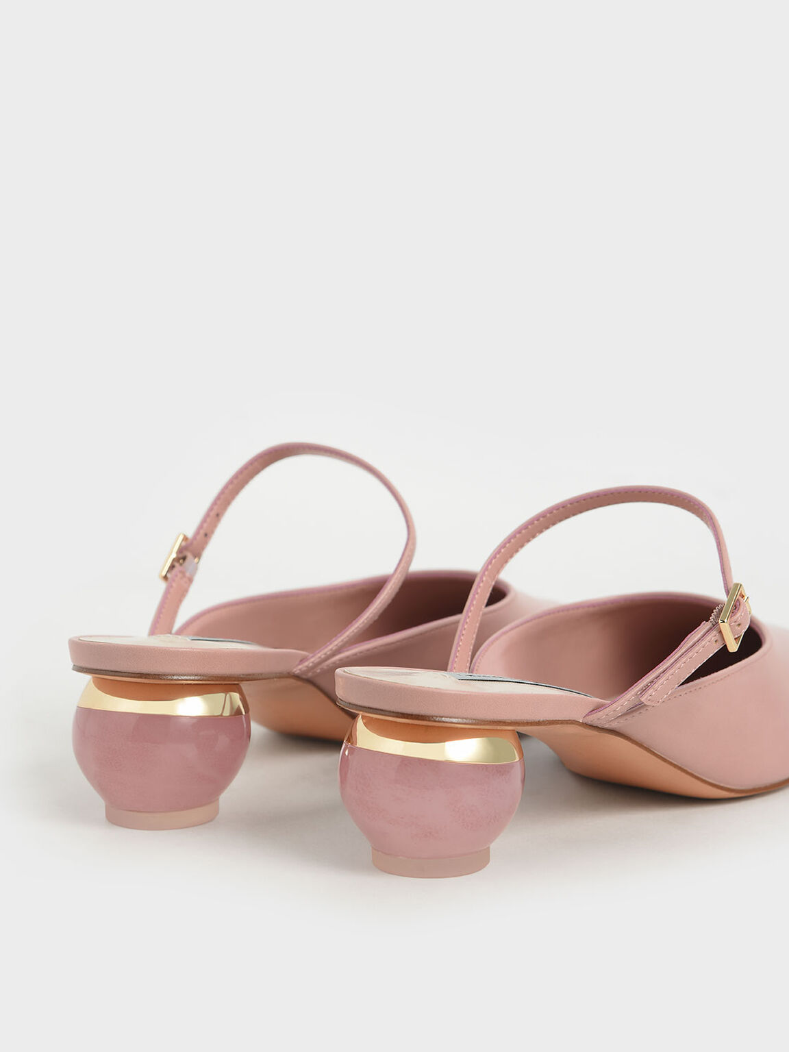 Sculptural Heel Pointed Toe Mules, Pink, hi-res