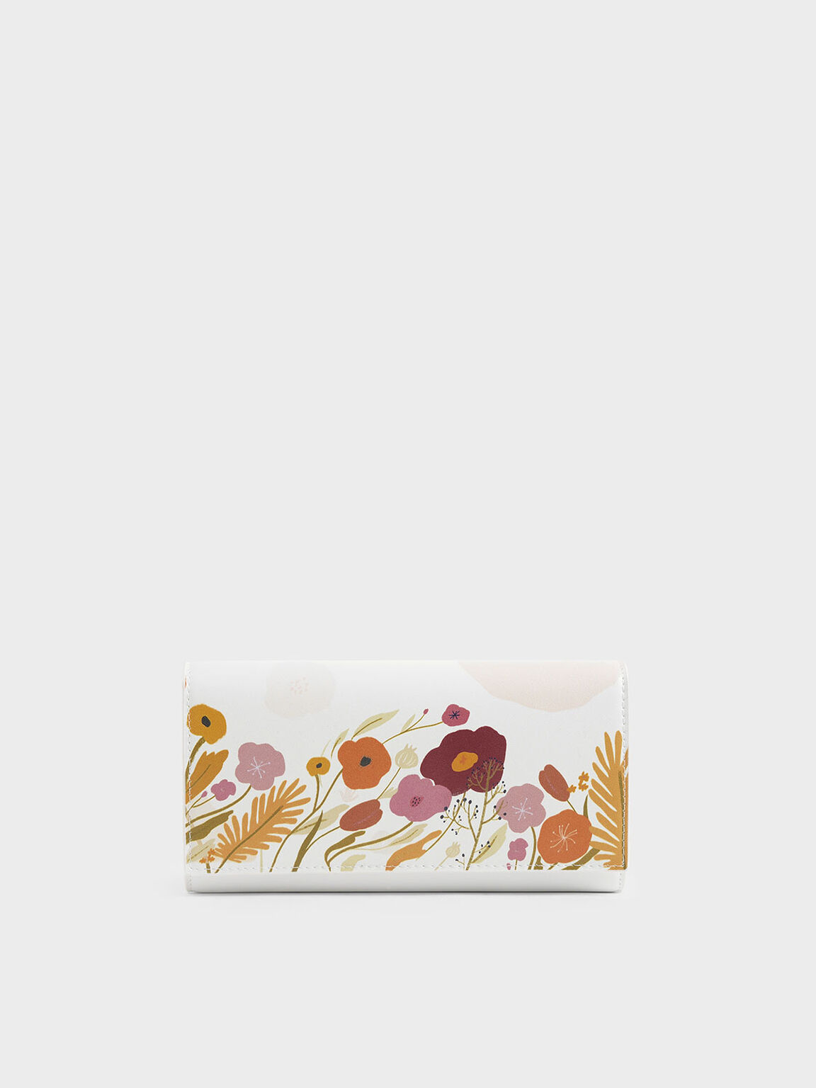 CHARLES & KEITH by Oamul Lu: Floral Illustration Long Wallet, White, hi-res