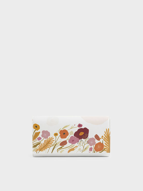CHARLES & KEITH by Oamul Lu: Floral Illustration Long Wallet, White
