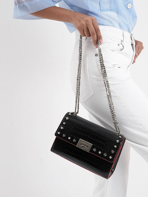 Croc-Effect Embellished Clutch, Black, hi-res