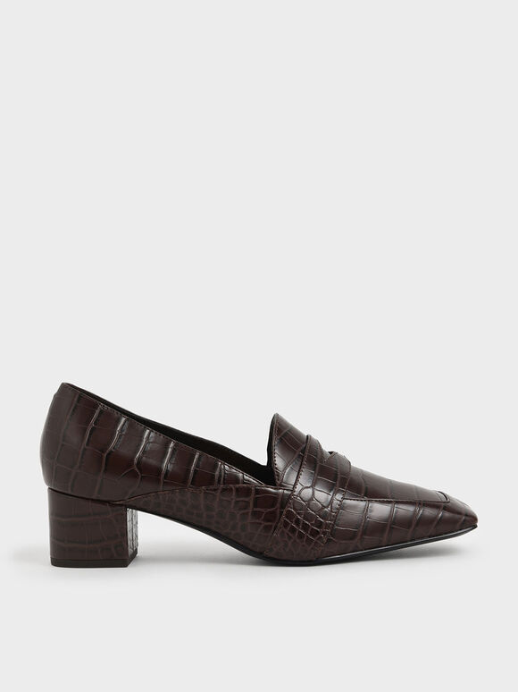 Croc-Effect Square Toe Block Heel Loafers, Brown, hi-res