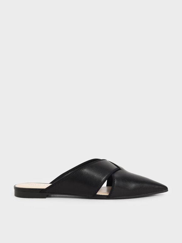 Woven Pointed Toe Mules, Black, hi-res