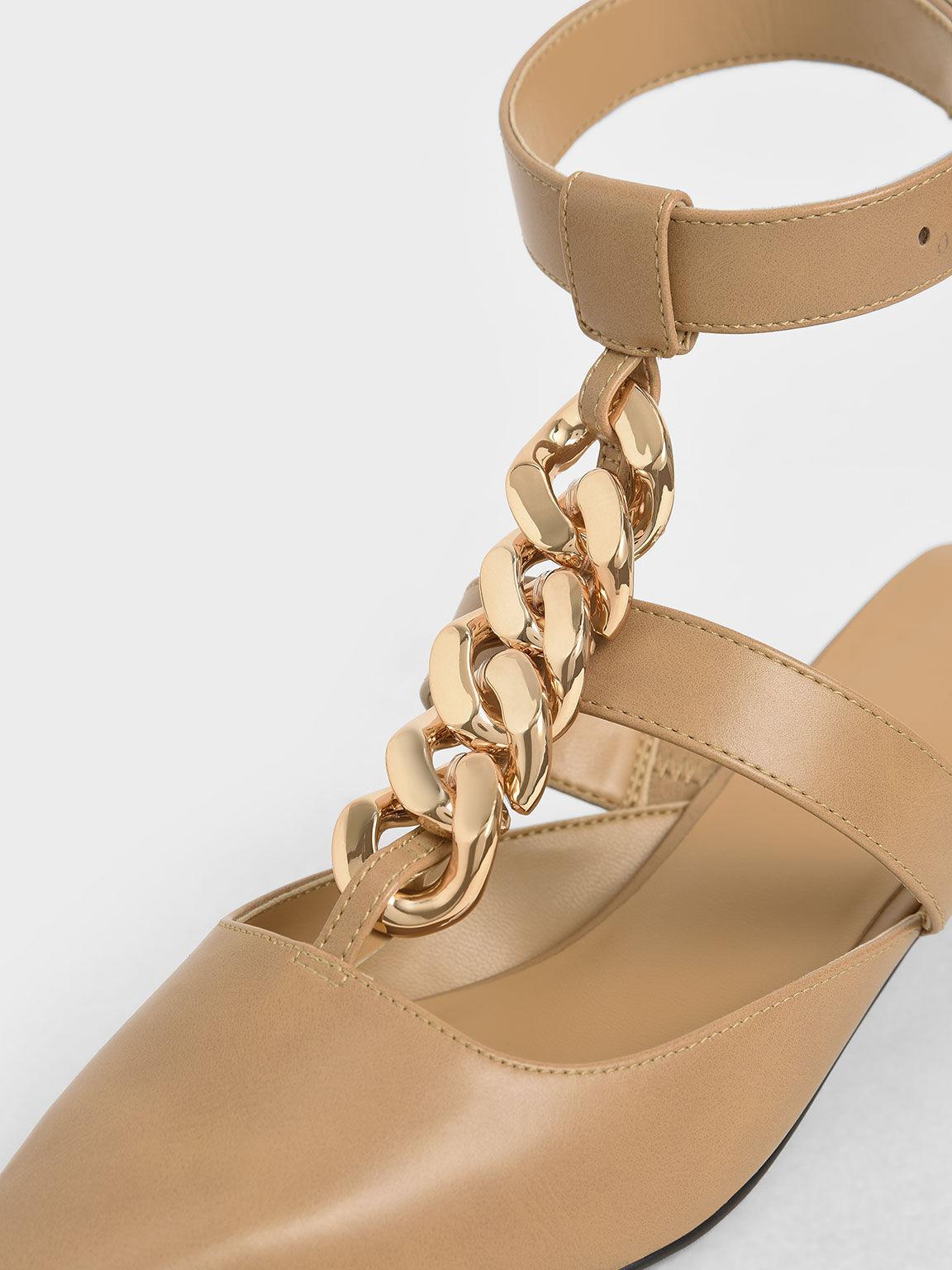 Chain Link Ankle Strap Pumps, Camel, hi-res