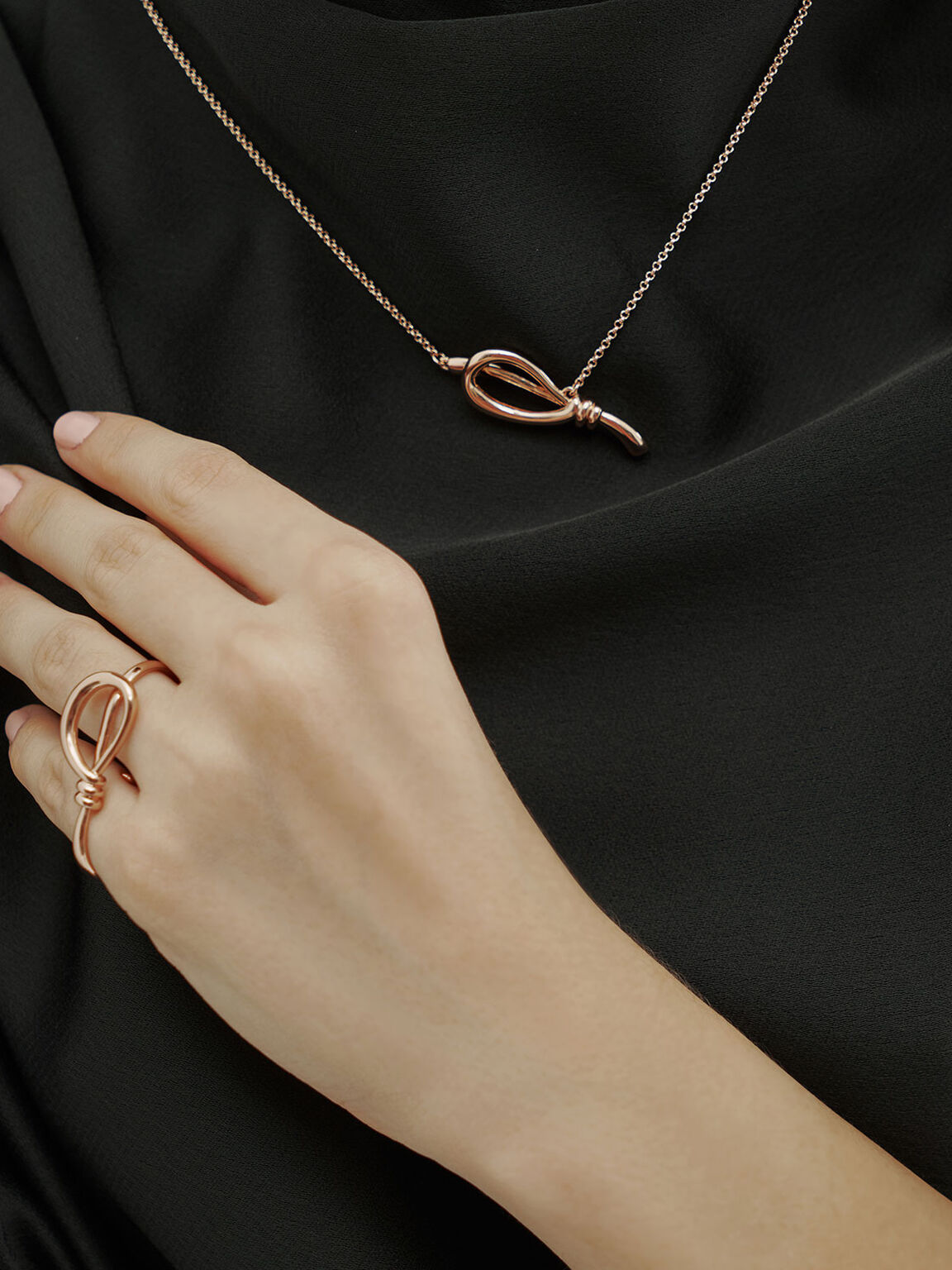 Knotted Double Ring, Rose Gold, hi-res