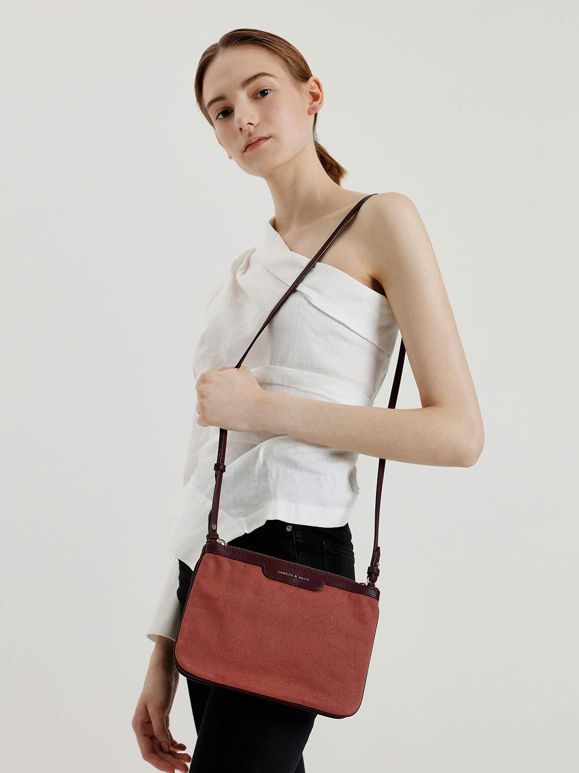 Canvas Crossbody Bag, Burgundy, hi-res