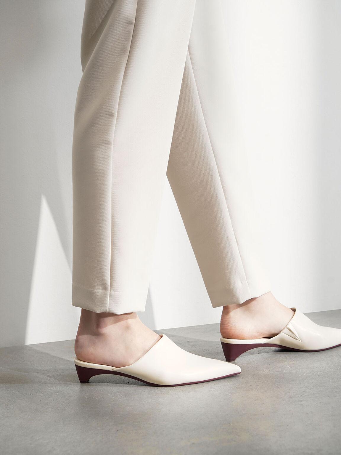 Pointed Toe Mules, Cream, hi-res