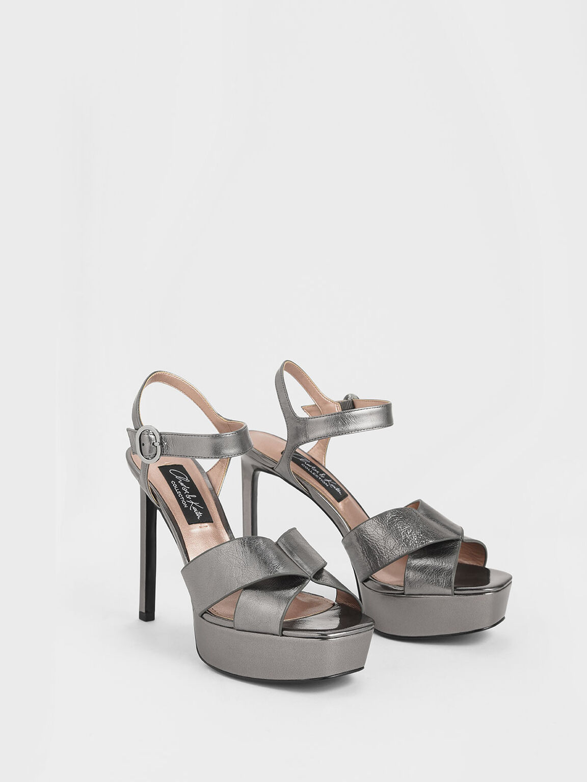 Wrinkled-Effect Leather Platform Stiletto Heels, Pewter, hi-res