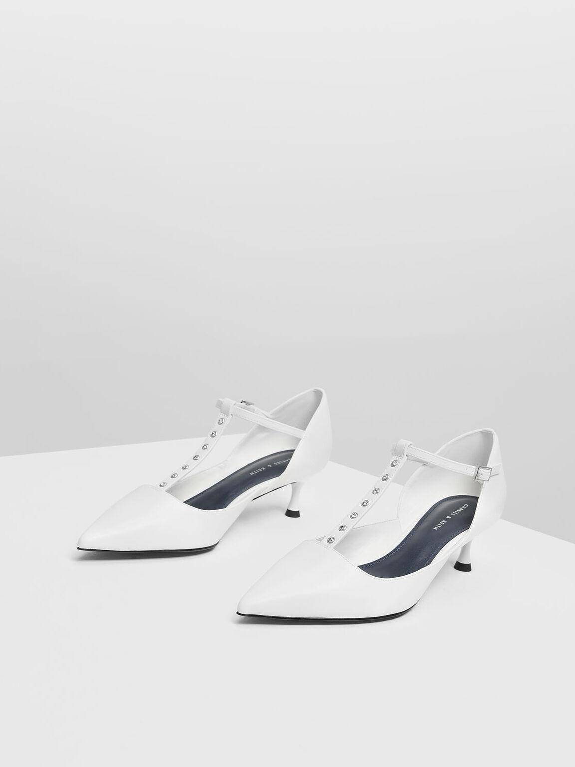 Embellished T-Bar Heels, White, hi-res