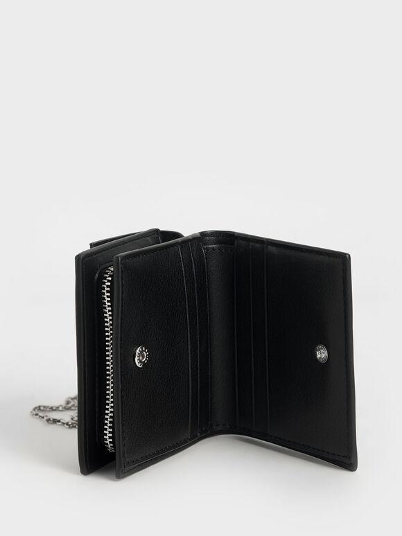 Ring Detail Short Wallet, Black, hi-res