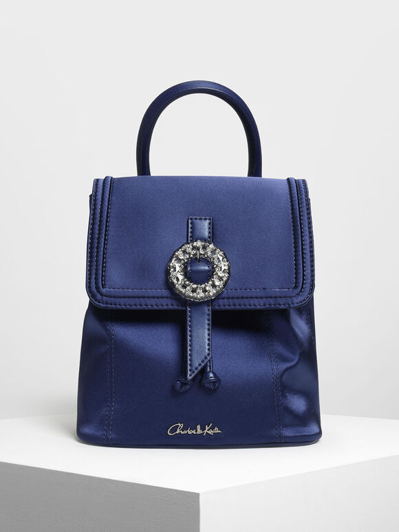 Crushed Gem Effect Buckle Detail Backpack, Dark Blue, hi-res