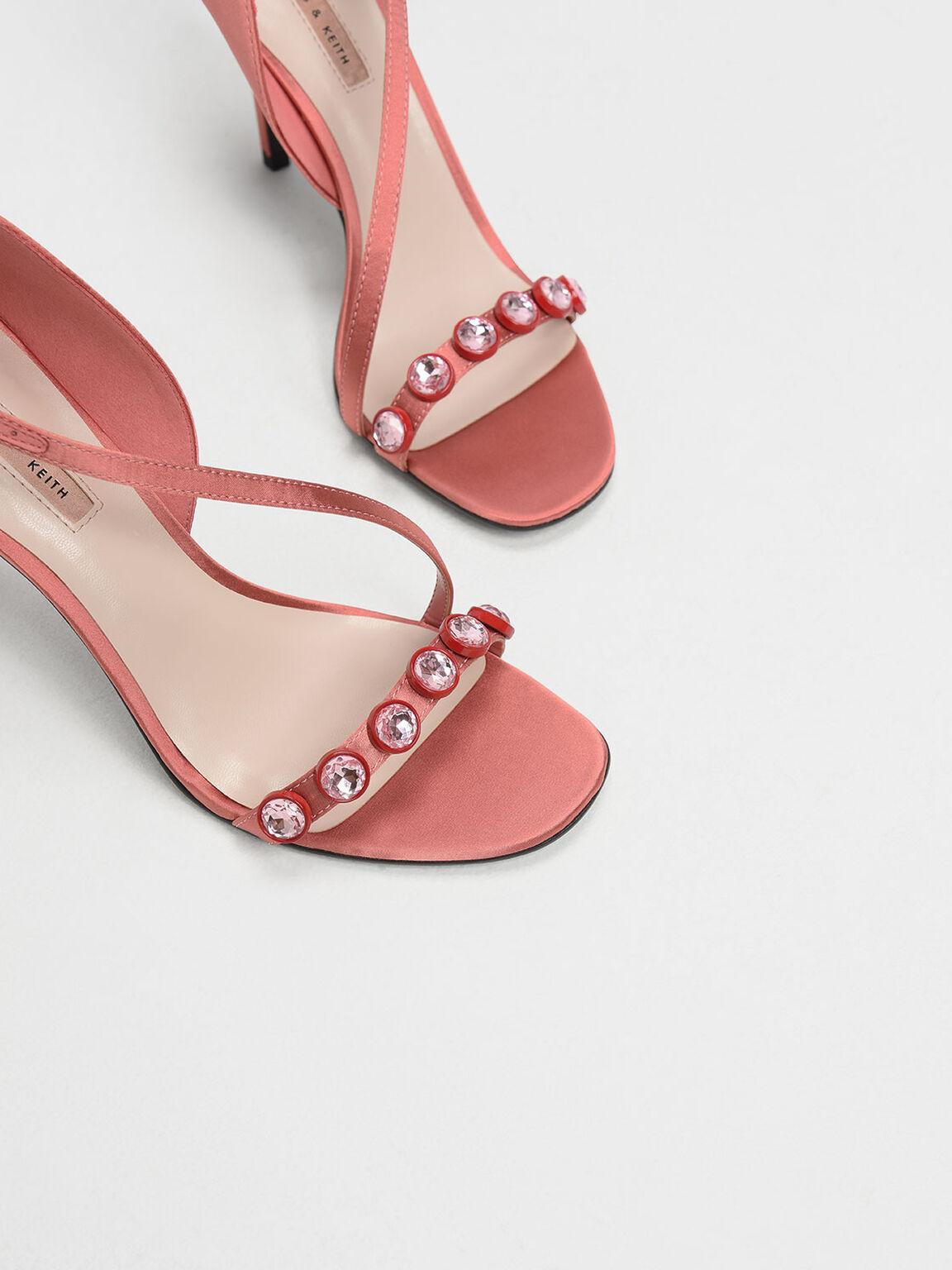 Embellished Strappy Heels, Coral Pink, hi-res