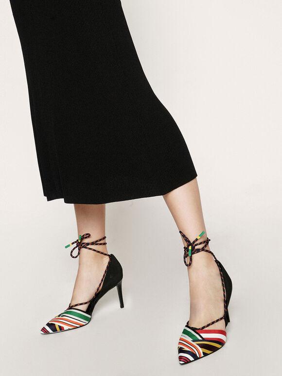 羅緞繩索綁帶跟鞋, 混色, hi-res